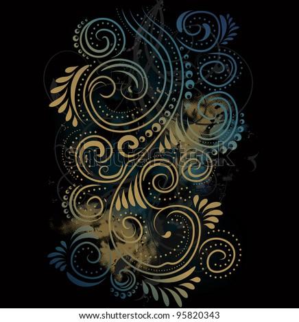 Design black, blue and gold vector ornate background