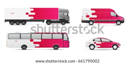 Design branding vehicles for advertising and corporate identity. Mock up for transport. Passenger car, bus and van. Graphics elements with modern geometric style.