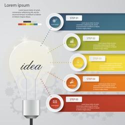 Design Business Chart 5 Steps Diagram in Light Bulb Shape. Simple&Editable Vector.