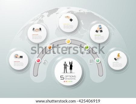 Design business circle infographic, Business template 5 options, can be used for workflow layout, diagram, number options, timeline, milestones.