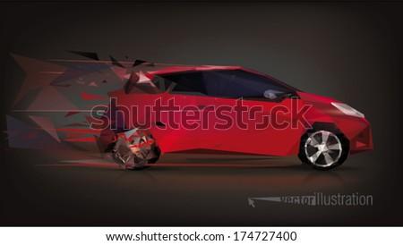 design car low poly triangular