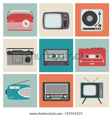 Design Cards with Vintage Electronic Equipment