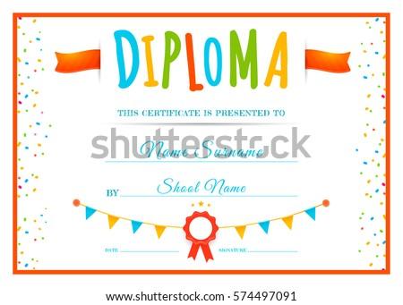 Kindergarten diploma certificate template download free vector design childrens diploma template for school or kindergarten kids certificate vector illustration yadclub Gallery