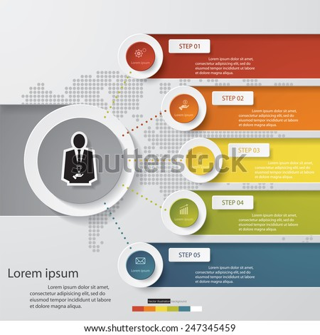 Design clean number banners template/graphic or website layout. 5 steps chart . Vector.