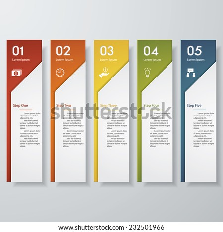 Design clean number banners template graphic or website layout 5 steps Vector