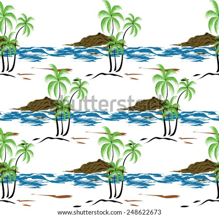 Design coconut trees, beaches and mountains.