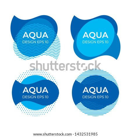 Design commercial Sign for advertising of drinking and mineral water, modern graphic image of the liquid in the form of a logo