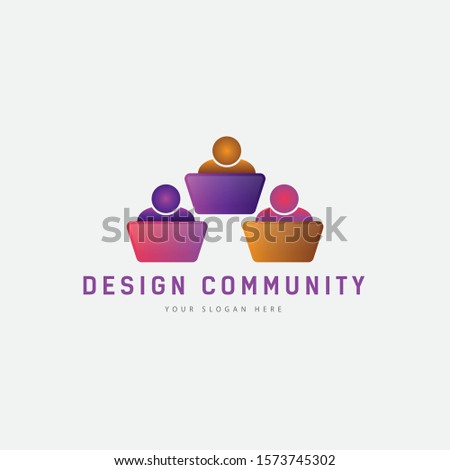 Design community, Modern Community logo. Teamwork. Social. Partnership, reunion, business, foundation, team,