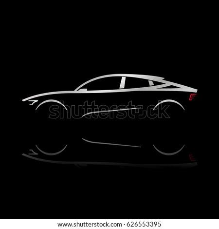 Design concept car. Outline Car. Vector illustration.