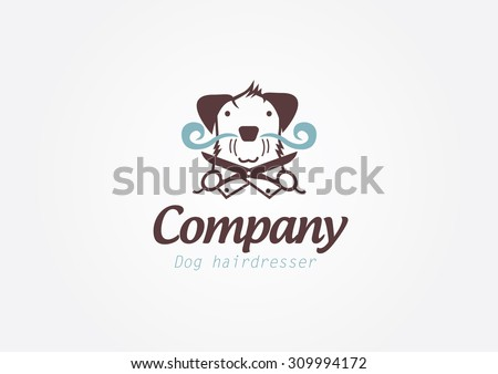 Design concept for pet barber shop or hairdresser.Vector logo template.