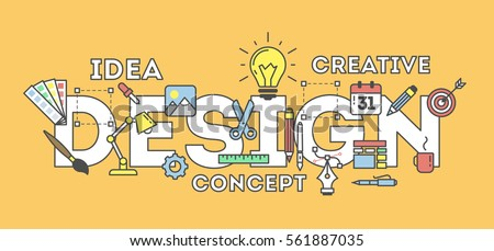 Design concept illustration on blue. Idea of making creative products. Design word with many icons as calendar, light bulb, pencils and more.