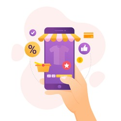 Design concept of online shopping in mobile device vector illustration