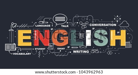 Design Concept Of Word ENGLISH Website Banner.