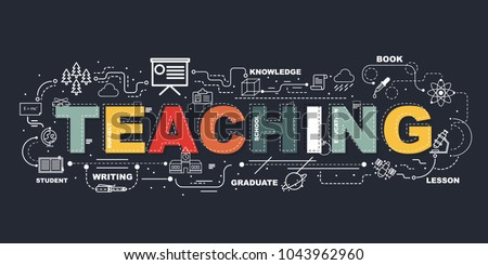 Design Concept Of Word TEACHING Website Banner.