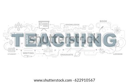 Design Concept Of Word TEACHING Website Banner.