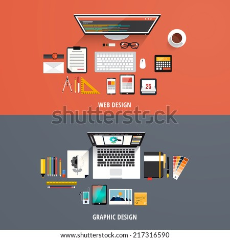 Design concepts Icons for graphic and web design. Flat style. Vector