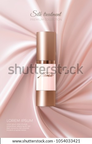 Design cosmetics product advertising for catalog, magazine.. Vector design of cosmetic package. Advertising of tonal cream, concealer, base. Nutritious cream, gel, body lotion with protein of silk.