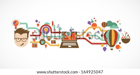 Idea Design brain idea design badges symbol concept and logo Design Creative Idea And Innovation Infographic