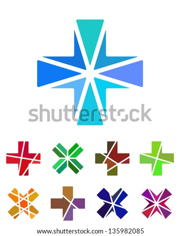 Design cross logo element. Crushing abstract pattern. Colorful x logotype, icons set. ストックフォト ©
