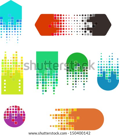 Design digital vector logo template.  Icon set. You can use in the buildings, movies, real estate ,chips and other digital concept of pattern.
