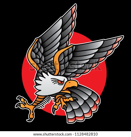 design eagle tattoo old school, vector EPS 10