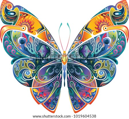 Design element, butterfly with pattern, bright, motley