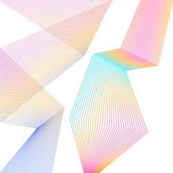 Design element Curved sharp corners wave many lines. Abstract vertical broken stripes on white background isolated. Creative line art. Vector illustration EPS 10. Colors line created using Blend Tool