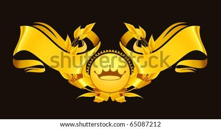 Design Element, Emblem gold eps10 - stock vector