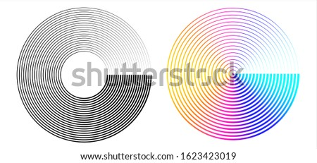 Design element many streak. Isolated bold vector colors & black ring from thin to thick. Radar circle. Symbol monitor airplane . Vector illustration EPS 10 for your tech presentation flyer layout Сток-фото ©