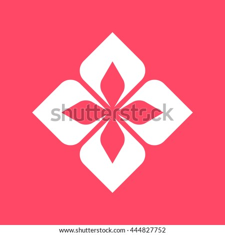 Design Element white icon on magenta color background. Eps-10.