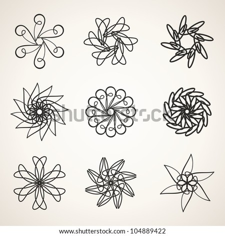 Design elements, abstract flowers
