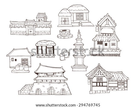 Design elements and collection in vintage style with Korean traditional architecture called Han-ok. A variety of houses, palace, city wall, ramparts and tower