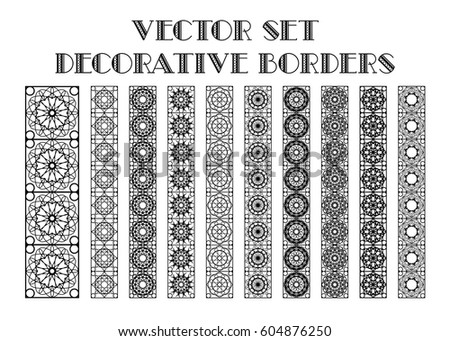 Design elements and page decoration. Vector set of borders isolated on white #604876250