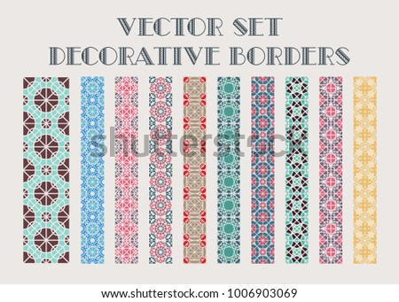 Design elements and page decoration. Vector set of color mosaic borders #1006903069