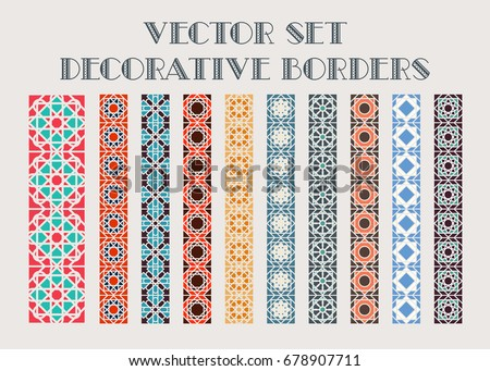 Design elements and page decoration. Vector set of color mosaic borders #678907711