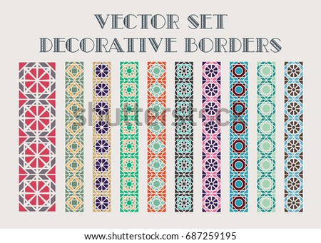 Design elements and page decoration. Vector set of color mosaic borders #687259195