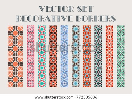 Design elements and page decoration. Vector set of color mosaic borders #772505836
