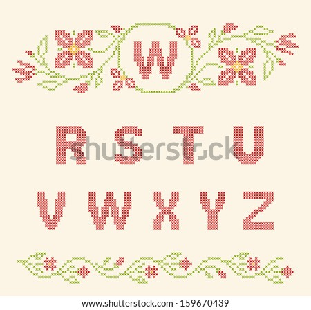 Cross stitch vector font download free vector art stock graphics design elements for cross stitch embroidery red and green vector illustration floral spiritdancerdesigns Image collections