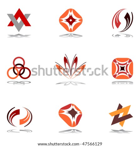 Design elements in warm colors. Set 10. Vector.