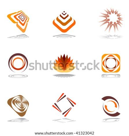 Design elements in warm colors. Vector set 1.