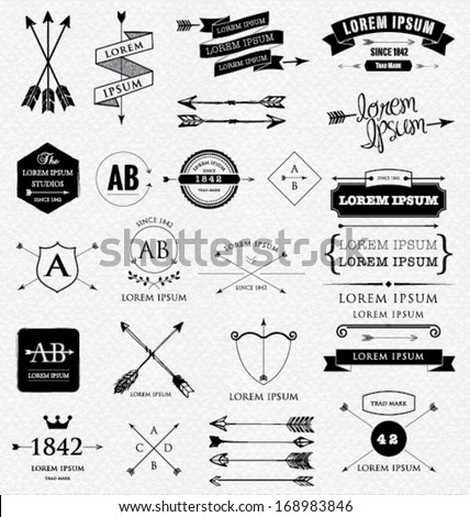 Design elements. Retro style. arrows, labels, ribbons, symbols such as logos. Editable vector illustration file. - Shutterstock ID 168983846