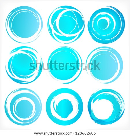 Design elements set in blue colors icons. Set 3. Vector illustration.