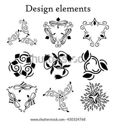 Design elements set, patterns, finials three-pointed. Vector. On a white background. Set of 9 calligraphic elements. #430324768
