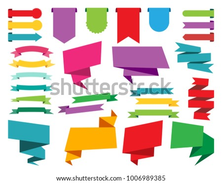 Design elements, web stickers, tags, banners, labels collection and ribbons Vector illustration