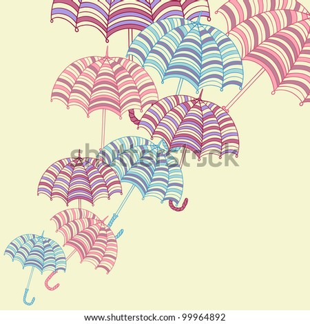 Design ellement with cute umbrellas. Vector illustration.