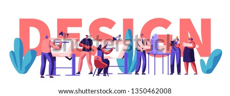 Design Engineering Banner. Character Professional Invent, Analyze and Build House and Business Center or Shop. Develop Building Plan and Make Layout. Flat Cartoon Vector Illustration