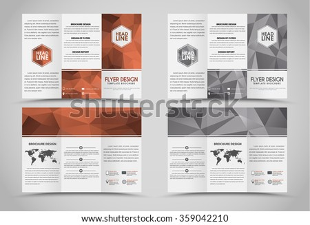design folding brochures with bronze and silver polygonal