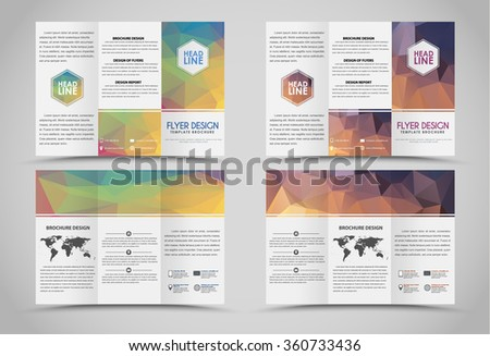 design folding brochures with green and gold polygonal backgrounds