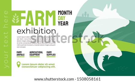 Design for agricultural exhibition. Identity for farm animals business, agricultural equipment, supplies, conference, forum. Illustration with sign of cow, pig, ram. Template for flyer, advert, banner