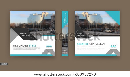 Design for business brochure cover, info banner frame, title sheet model set, techno flyer mockup or ad text font. Modern vector front page art with urban city street texture. White, blue figure icon